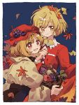 2girls aki_minoriko aki_shizuha apple autumn_leaves basket black_skirt blonde_hair blue_background dress falling_leaves food fruit ginkgo_leaf grapes hair_ornament hat holding holding_basket holding_leaf ka_(marukogedago) leaf leaf_hair_ornament long_sleeves looking_at_viewer mob_cap multiple_girls open_mouth red_dress red_eyes red_headwear shirt short_hair siblings sisters skirt skirt_hold smile touhou yellow_eyes