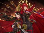 2girls black_bodysuit black_scarf bodysuit cape deepmaru dual_persona family_crest fate/grand_order fate_(series) gun hair_over_one_eye hat height_difference looking_at_viewer military_hat multiple_girls musket oda_nobunaga_(fate) oda_nobunaga_(fate)_(all) oda_nobunaga_(maou_avenger)_(fate) oda_uri older popped_collar red_cape red_eyes redhead scarf smile weapon