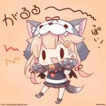 1girl :3 :d animal_ears animal_hat bangs black_ribbon black_shirt black_skirt blonde_hair blush brown_background commentary_request fake_animal_ears fang full_body fur-trimmed_gloves fur_trim gloves grey_gloves hair_flaps hair_ornament hair_ribbon hairclip hat kantai_collection long_hair low_twintails momoniku_(taretare-13) neckerchief open_mouth paw_gloves paw_shoes paws pleated_skirt puffy_short_sleeves puffy_sleeves red_neckwear remodel_(kantai_collection) ribbon shirt shoes short_sleeves simple_background skirt smile solid_oval_eyes solo standing standing_on_one_leg tail translated twintails twitter_username v-shaped_eyebrows very_long_hair watermark web_address wolf_ears wolf_girl wolf_hat wolf_tail yuudachi_(kantai_collection)