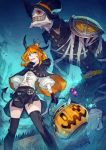 1girl aqua_eyes blonde_hair candy cape costume crown food ghost graveyard hair_ornament hairclip halloween halloween_basket halloween_costume happy_halloween hat highres horns jack-o'-lantern kusano_shinta lollipop original pumpkin pumpkin_hat thigh-highs trick_or_treat witch witch_hat