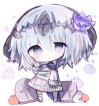 1girl :o \m/ bandaged_leg bandages bangs blue_hair blush chibi cottontailtokki dragon_horns dress flower full_body ghost grey_eyes hair_between_eyes hair_flower hair_ornament headpiece horns long_hair long_sleeves looking_at_viewer parted_lips pumpkin purple_flower shadowverse sleeves_past_fingers sleeves_past_wrists solo standing sweater sweater_dress tombstone white_background white_sweater whitefrost_dragonewt_filene