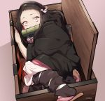 1girl bamboo bit_gag black_hair box feet_out_of_frame fetal_position flip-flops gag hair_ribbon haori in_box in_container japanese_clothes kamado_nezuko kimetsu_no_yaiba kimono leg_warmers long_hair long_sleeves looking_at_viewer masc_(68mb) mouth_hold multicolored_hair obi orange_hair pink_eyes pink_kimono pink_ribbon ribbon sandals sash shoe_dangle solo two-tone_hair very_long_hair