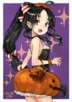 1girl alternate_costume basket black_hair blush bow brown_eyes candy dated food frills hair_ornament halloween halloween_costume highres jack-o'-lantern kantai_collection long_hair low-tied_long_hair multi-tied_hair nisshin_(kantai_collection) open_mouth pumpkin pumpkin_pants purple_background scrunchie short_eyebrows simple_background solo sparkle striped striped_bow tank_top toka_(marchlizard) wrist_scrunchie