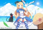1girl :o absurdres alice_(wonderland) alice_in_wonderland apron artist_name bird black_cat black_hairband blonde_hair blue_dress blue_sky cat clouds dated dress hairband hat highres kneehighs knees_together_feet_apart leaf lighthouse lolcat_(wng0623) long_hair neck_ribbon ocean pleated_dress puffy_short_sleeves puffy_sleeves ribbon seagull short_sleeves sitting sky solo striped striped_legwear suitcase sun sun_hat very_long_hair wind_turbine windmill wristband