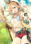 1girl :d atelier_(series) atelier_ryza bare_shoulders belt beret blue_sky breasts brown_eyes brown_gloves brown_hair clouds collarbone cowboy_shot crop_top day detached_sleeves flask gloves hair_ornament hairclip hand_up hat highres hip_vent holding holding_staff hood hood_down jewelry lens_flare looking_at_viewer medium_breasts midriff navel necklace open_mouth outdoors red_shorts reisalin_stout shirt short_hair short_shorts shorts single_glove skindentation sky sleeveless sleeveless_jacket smile solo staff sunlight test_tube thigh-highs thighs toosaka_asagi white_headwear white_shirt