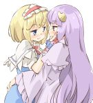 2girls alice_margatroid arnest blonde_hair blue_dress blue_eyes blush capelet commentary_request crescent crescent_hair_ornament dress eyebrows_visible_through_hair hair_ornament hairband hand_on_another's_face hand_on_another's_hip long_hair looking_at_another multiple_girls no_hat no_headwear patchouli_knowledge purple_hair raised_eyebrows robe short_hair short_sleeves simple_background smile touhou upper_body very_long_hair violet_eyes white_background wide_sleeves yuri