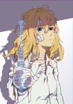 1girl bandaged_arm bandaged_head bandages bandaid bangs blonde_hair blue_eyes collar collared_shirt eyebrows_visible_through_hair hair_between_eyes long_sleeves looking_at_viewer parted_lips reaching_out shadow shirt simple_background smile solo standing sun951122 translated violet_evergarden violet_evergarden_(character) white_background white_neckwear white_shirt