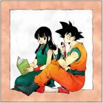 1boy 1girl bangs bare_arms bare_shoulders black_eyes black_hair blue_footwear blunt_bangs book boots border chi-chi_(dragon_ball) china_dress chinese_clothes couple dougi dragon_ball dragon_ball_(classic) dress expressionless fingernails grey_background hair_tie hand_in_another's_hair happy hetero highres hime_cut holding holding_book light_particles long_hair looking_at_another looking_back open_book pink_border profile red_footwear sidelocks simple_background sitting sleeveless sleeveless_dress smile son_gokuu spiky_hair straight_hair toritoki_(trig_tkdb) tying_hair wariza wristband