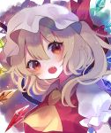 1girl :o ascot bangs blonde_hair blush check_commentary chikuwa_(tikuwaumai_) collared_shirt commentary_request crystal eyebrows_visible_through_hair fang flandre_scarlet floating_hair hair_between_eyes hair_ribbon hat highres lens_flare light_particles looking_at_viewer mob_cap one_side_up open_mouth orange_eyes puffy_short_sleeves puffy_sleeves rainbow rainbow_order red_ribbon red_vest ribbon shirt short_hair_with_long_locks short_sleeves solo touhou upper_body vest white_shirt wide-eyed wings yellow_neckwear