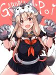 1girl 1other animal_hood bangs bat_wings black_skirt blonde_hair blush breasts cape claw_pose commentary_request fake_tail fang gloves hair_flaps hair_ornament hair_ribbon hairclip halloween hood kantai_collection large_breasts long_hair mizunoe_kotaru neckerchief open_mouth paw_gloves paws pleated_skirt red_eyes red_neckwear remodel_(kantai_collection) ribbon sailor_collar school_uniform serafuku simple_background sitting sitting_on_person skirt tail torn_cape torn_clothes wings wolf_hood wolf_tail yuudachi_(kantai_collection)