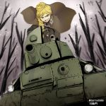 1girl 7tp artist_name black_gloves blonde_hair blue_eyes blurry blurry_background bonple_military_uniform braid brown_jacket capelet commentary_request fourragere girls_und_panzer girls_und_panzer_ribbon_no_musha gloves grey_sky ground_vehicle hair_bun hair_over_shoulder holding jacket jajka_(girls_und_panzer) long_hair long_sleeves military military_uniform military_vehicle motor_vehicle open_mouth outdoors partial_commentary single_braid smirk solo tank tree tsukasa-emon twitter_username uniform wind