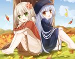2girls autumn_leaves bangs barefoot beret black_headwear blue_hair blue_sky brown_capelet brown_dress brown_eyes brown_footwear clouds commentary_request crossed_arms day dress eyebrows_visible_through_hair flower ginkgo ginkgo_leaf green_eyes hair_between_eyes hair_flower hair_ornament hat knees_up light_brown_hair long_hair long_sleeves multiple_girls on_grass on_ground original outdoors sitting skirt sky sleeves_past_wrists soles tree very_long_hair white_skirt yuuhagi_(amaretto-no-natsu)