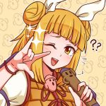1girl ;d \||/ armor bangs blonde_hair blunt_bangs blush double_bun eighth_note flying_sweatdrops hair_ribbon haniwa_(statue) holding holding_microphone joutouguu_mayumi looking_at_viewer microphone music musical_note one_eye_closed open_mouth red_ribbon ribbon short_hair singing smile solo sparkle touhou upper_body white_ribbon wool_(miwol) wristband yellow_eyes
