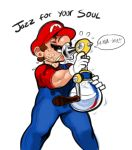 1boy closed_eyes english_text f.l.u.d.d. facial_hair hat jazz_for_your_soul_(meme) male_focus mario mario_(series) meme mustache nitrotitan sexually_suggestive speech_bubble suggestive_fluid super_mario_sunshine wet you're_doing_it_wrong