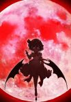 1girl absurdres arm_at_side backlighting balancing bangs bat_wings bow collared_dress commentary_request dress evil_smile eyebrows_visible_through_hair fingernails frilled_dress frilled_sleeves frills full_body glowing glowing_eyes gokuu_(acoloredpencil) hair_between_eyes half-closed_eyes hand_up hat hat_ribbon highres low_wings mary_janes mob_cap moon neck_ribbon outdoors outstretched_arm outstretched_hand puffy_short_sleeves puffy_sleeves red_bow red_footwear red_moon red_ribbon red_theme remilia_scarlet ribbon sash shoes short_hair short_sleeves slit_pupils smile solo standing standing_on_one_leg touhou wings wrist_cuffs