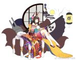 1girl animal_ears azur_lane bare_shoulders black_hair boqboq commentary_request crescent crescent_hair_ornament fan folding_fan fox_ears fox_tail hair_ornament holding japanese_clothes kimono kneehighs long_hair looking_at_viewer machinery multiple_tails nagato_(azur_lane) off-shoulder_kimono official_art simple_background sitting solo tail tiara translation_request turret weibo_logo weibo_username white_background white_legwear yellow_eyes