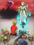 1boy 1girl arm_at_side bare_shoulders barefoot blonde_hair castle clenched_hand commentary_request cosboc_aogis dress faceless faceless_female facing_another facing_away floating food fruit full_body ganon hand_up jewelry link long_hair mask master_sword meat mushroom necklace outstretched_arm pointing pointing_to_the_side pointy_ears ponytail princess_zelda red_sky seiza shirt short_hair short_sleeves shorts sidelocks sitting sky soles sparkle strapless strapless_dress sword the_legend_of_zelda the_legend_of_zelda:_breath_of_the_wild the_legend_of_zelda:_majora's_mask toes very_long_hair watermelon weapon