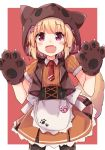 1girl :d animal_ears apron argyle argyle_legwear bangs black_legwear blonde_hair blush brown_gloves brown_shirt brown_skirt brown_vest collared_shirt commentary_request cowboy_shot eyebrows_visible_through_hair fake_animal_ears fang flower gloves hair_flower hair_ornament halloween heart looking_at_viewer necktie open_clothes open_mouth open_vest original pantyhose paw_gloves paws puffy_short_sleeves puffy_sleeves red_flower red_neckwear shirt short_necktie short_sleeves skirt smile solar_milk solo tail vest violet_eyes waist_apron white_apron wolf_ears wolf_girl wolf_hat wolf_tail
