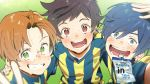 3boys absurdres arm_around_shoulder blue_eyes blue_hair brown_eyes brown_hair energy_drink freckles glasses grass green_eyes hair_intakes hana_bell_forest highres huge_filesize jinnai_enta kuji_toi male_focus multiple_boys sarazanmai shirt smile smilw soccer_uniform sportswear striped striped_shirt sweat what_if yasaka_kazuki