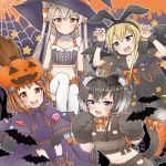 4girls alternate_costume amatsukaze_(kantai_collection) anchor anchor_hair_ornament anchor_symbol animal animal_ear_fluff animal_ears bangs bat black_hair blonde_hair blush breasts broom brown_hair candy cat_ears cat_tail closed_mouth cocoperino eyebrows_visible_through_hair food gloves gradient_hair hair_ornament hair_tubes hairband halloween halloween_costume hat headgear jack-o'-lantern kantai_collection long_hair multicolored_hair multiple_girls navel open_mouth paw_gloves paws shimakaze_(kantai_collection) short_hair short_hair_with_long_locks silk silver_hair spider_web star tail tokitsukaze_(kantai_collection) two_side_up wings witch_hat yukikaze_(kantai_collection)