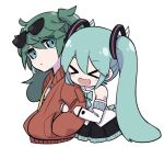 >_< 2girls aqua_bow aqua_eyes aqua_hair arm_hug bare_shoulders black_skirt black_sleeves bow bowtie chibi commentary dual_persona expressionless eyewear_on_head green_hair hair_ornament hands_in_pockets hatsune_miku holding_arm jacket long_hair looking_at_another magical_mirai_(vocaloid) multiple_girls nejikyuu open_mouth pleated_skirt red_jacket shirt shoulder_tattoo skirt smile suna_no_wakusei_(vocaloid) sunglasses tattoo twintails upper_body very_long_hair vocaloid white_shirt white_sleeves yuri
