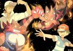 2boys gen_7_pokemon highres incineroar kukui_(pokemon) mei_(maysroom) multiple_boys pokemon pokemon_(anime) pokemon_sm_(anime) satoshi_(pokemon) torracat