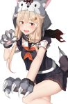 1girl absurdres animal_hood black_shirt black_skirt blonde_hair cowboy_shot fangs fur_collar gloves hair_flaps hair_ornament hairclip highres hood kantai_collection long_hair looking_at_viewer miniskirt neckerchief open_mouth pallad paw_gloves paws pleated_skirt red_eyes remodel_(kantai_collection) school_uniform shirt short_sleeves simple_background skirt solo tail thighs white_background wolf_hood wolf_tail yuudachi_(kantai_collection)