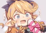 1girl blonde_hair blue_eyes blush bow candy candy_cane charlotta_fenia drooling food gauntlets granblue_fantasy harvin heart heart-shaped_pupils heavy_breathing jingai_modoki pointy_ears sexually_suggestive symbol-shaped_pupils