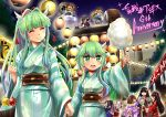 +_+ 6+girls anniversary bangs black_hair blunt_bangs bow brown_hair candy_apple character_request closed_eyes clouds cotton_candy festival floral_print food fuuko_(sennen_sensou_aigis) green_eyes green_hair green_kimono hair_bow hair_intakes hair_ornament hair_over_one_eye highres horns instrument japanese_clothes kasumi_(sennen_sensou_aigis) kimono kuuko_(sennen_sensou_aigis) lantern multiple_girls night night_sky one_eye_closed onibahime_(sennen_sensou_aigis) paper_lantern purple_kimono ramii_(sennen_sensou_aigis) red_bow red_eyes red_kimono red_ribbon remii ribbon rindou_(sennen_sensou_aigis) sennen_sensou_aigis shamisen sidelocks sky standing taiko_drum tsubakiyama_parry water_balloon water_yoyo yukata
