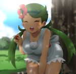 1girl blue_sky breasts cherry closed_eyes clouds commentary_request dark_skin day flower food fruit grass green_hair hair_flower hair_ornament happy highres holding holding_food holding_fruit leaning_forward mao_(pokemon) medium_breasts open_mouth outdoors overalls pokemon pokemon_(game) pokemon_sm robert_m sky sleeveless solo teeth tree tree_shade twintails