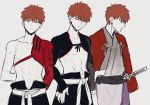 1boy commentary emiya_shirou fate/grand_order fate/stay_night fate_(series) highres igote japanese_clothes kani_seijin katana limited/zero_over long_sleeves male_focus orange_hair raglan_sleeves sengo_muramasa_(fate) sheath sheathed short_hair single_bare_shoulder sword weapon yellow_eyes