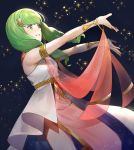1girl armlet dancer dress fire_emblem fire_emblem:_three_houses flayn_(fire_emblem) green_eyes green_hair hair_ornament highres kyufe long_hair outstretched_arms parted_lips solo
