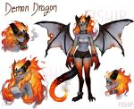 1girl absurdres artist_name black_shorts character_sheet claws collar commentary dragon_girl dragon_wings english_commentary fiery_hair grey_skin highres horns long_hair matilda_fiship monster_girl multiple_views original paws pointy_ears red_eyes sarashi scales sharp_teeth short_shorts shorts simple_background tail teeth white_background wings yellow_sclera