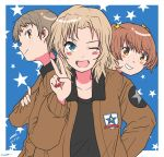 ;d alisa_(girls_und_panzer) artist_name bangs black_shirt blonde_hair blue_background blue_eyes blush_stickers brown_eyes brown_hair brown_jacket commentary dated emblem freckles girls_und_panzer grin hair_intakes hair_ornament hand_on_hip highres jacket kay_(girls_und_panzer) long_hair long_sleeves looking_at_viewer military military_uniform nail_polish naomi_(girls_und_panzer) one_eye_closed open_clothes open_jacket open_mouth outside_border peeking_out red_nails saunders_(emblem) saunders_military_uniform shirt short_hair short_twintails signature smile star star_hair_ornament starry_background twintails twitter_username uniform v very_short_hair zono_(inokura_syuzo029)