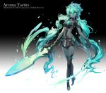 1girl apple_caramel aqua_hair arcana_tactics black_legwear breasts company_name copyright_name full_body gem gradient green_eyes grey_skin hair_between_eyes highres holding holding_sword holding_weapon long_hair looking_at_viewer midriff official_art simple_background small_breasts solo standing sword twintails very_long_hair watermark weapon