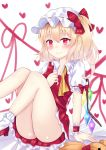 1girl arm_support blonde_hair blush bobby_socks commentary_request eyebrows_visible_through_hair flandre_scarlet hair_between_eyes hand_on_own_chest hat hat_ribbon heart highres knees_to_chest leg_lift looking_at_viewer loose_neckwear mob_cap nibosisuzu panties pantyshot pantyshot_(sitting) partial_commentary petticoat pink_panties pointy_ears puffy_short_sleeves puffy_sleeves red_eyes red_footwear red_skirt red_string red_vest ribbon shirt short_hair short_sleeves side_ponytail sitting skirt smile socks solo string stuffed_animal stuffed_toy teddy_bear touhou underwear vest wavy_mouth white_background white_headwear white_legwear white_shirt wings wrist_cuffs yellow_neckwear