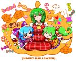 >o< 3girls ^_^ alternate_costume ascot blush_stickers bow candy chibi cirno closed_eyes club_(shape) collared_shirt commentary_request cookie daiyousei diamond_(shape) dress eye_print fairy_wings fang food ghost green_hair hair_bow half-closed_eyes halloween_costume happy happy_halloween head_tilt heart holding_lollipop hug jack-o'-lantern jack-o'-lantern_print kashuu_(b-q) kazami_yuuka kneeling light_blue_hair lollipop long_sleeves looking_down multiple_girls open_mouth orange_dress peppermint petting plaid plaid_skirt plaid_vest print_bow puffy_short_sleeves puffy_sleeves purple_bow purple_dress red_eyes red_skirt red_vest shaded_face shiny shiny_hair shirt short_hair short_sleeves side_ponytail skirt skirt_set smile spade_(shape) touhou vest white_background white_shirt wings yellow_neckwear
