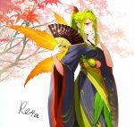 1girl autumn_leaves bangs black_kimono braid breasts closed_mouth commentary_request earrings eyebrows_visible_through_hair fan fingernails floral_print folding_fan green_hair hair_intakes hair_ornament hands_up highres holding holding_fan hoshizaki_reita japanese_clothes jewelry kimono large_breasts leaf long_hair long_sleeves maple_leaf nail_polish obi original parted_bangs personification ponytail print_kimono red_eyes red_nails sash sidelocks signature smile solo tree_branch white_background wide_sleeves