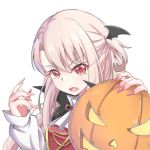 1girl absurdres bangs black_cape cape eyebrows_visible_through_hair fang fate/kaleid_liner_prisma_illya fate_(series) fingernails glowing hair_between_eyes halloween hands_up highres illyasviel_von_einzbern jack-o'-lantern light_brown_hair long_fingernails long_hair long_sleeves looking_at_viewer nail_polish one_side_up open_mouth pink_nails red_eyes sharp_fingernails shirt simple_background sleeves_past_wrists solo upper_body white_background white_shirt wing_hair_ornament zongren