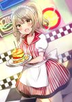 1girl :d apron bangs blurry blurry_background blush checkered checkered_floor collarbone collared_shirt commentary_request depth_of_field eyebrows_visible_through_hair fangs food french_fries hair_between_eyes hamburger high_ponytail highres holding holding_tray indoors kneeling light_brown_hair looking_at_viewer maid_headdress minami_saki neon_lights open_mouth original plate ponytail puffy_short_sleeves puffy_sleeves shirt short_sleeves skirt smile solo standing striped striped_shirt tray vertical-striped_shirt vertical-striped_skirt vertical_stripes waist_apron waitress white_apron yellow_eyes