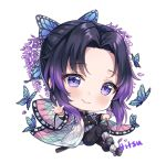 1girl animal artist_name bangs big_head black_hair black_jacket black_pants blue_butterfly blush bug butterfly butterfly_hair_ornament chibi closed_mouth commentary eyebrows_visible_through_hair flower full_body gradient_hair hair_ornament hitsukuya insect jacket katana kimetsu_no_yaiba kochou_shinobu long_sleeves looking_at_viewer multicolored_hair open_clothes pants parted_bangs purple_flower purple_hair sheath sheathed shoe_soles signature simple_background smile solo sword violet_eyes weapon white_background wide_sleeves
