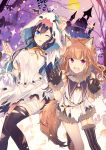 2girls animal_ears bandages bat black_gloves black_hair black_legwear blue_eyes brown_headwear castle commentary_request eyebrows_visible_through_hair fang fox_ears fox_tail fur_trim gloves goma_(11zihisin) happy highres long_hair looking_at_viewer multiple_girls one_eye_closed original red_eyes shirt skirt smile tail thigh-highs tongue tongue_out torn_clothes torn_legwear white_shirt white_skirt