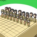 asymmetrical_bangs bangs black_hair blunt_bangs board_game bob_cut braid brown_headwear brown_jacket chi-hatan_military_uniform closed_mouth commentary frown fukuda_(girls_und_panzer) girls_und_panzer glasses hair_rings hamada_(girls_und_panzer) helmet hosomi_(girls_und_panzer) jacket kogane_(staygold) kubota_(girls_und_panzer) lowres military military_uniform nagura_(girls_und_panzer) nishi_kinuyo nishihara_(girls_und_panzer) opaque_glasses open_mouth pleated_skirt ponytail round_eyewear shougi skirt smile tamada_(girls_und_panzer) twitter_username uniform yellow_skirt