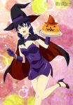 1girl absurdres artist_request black_dress blue_hair cape dress halloween hat high_heels highres j.c._staff long_hair mage scan shokugeki_no_souma shueisha sorceress tadokoro_megumi tokyo_mx witch witch_hat yellow_eyes