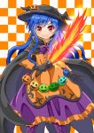 1girl :> alternate_costume black_cape black_gloves blue_hair blush boots bow bowtie cape checkered checkered_background commentary cross-laced_footwear dress eyebrows_visible_through_hair feet_out_of_frame gloves hair_ornament halloween halloween_costume hat highres hinanawi_tenshi holding holding_weapon jack-o'-lantern jack-o'-lantern_hair_ornament layered_dress long_hair looking_at_viewer orange_background orange_dress purple_footwear purple_neckwear purple_skirt red_eyes sidelocks skirt smile solo standing sugiyama_ichirou sword_of_hisou team_shanghai_alice touhou two-tone_background very_long_hair weapon white_background