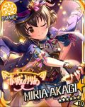 akagi_miria blush brown_eyes brown_hair cape character_name dress idolmaster idolmaster_cinderella_girls short_hair smile stars wink