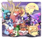 azuma_minatsu bandages bare_tree basket blush candy climbing cloak closed_eyes clothed_pokemon cosplay crescent eevee espeon facing_away facing_viewer flareon food gen_1_pokemon gen_2_pokemon gen_4_pokemon gen_6_pokemon glaceon halloween halloween_costume happy_halloween hat in_tree jack-o'-lantern jolteon leafeon lollipop looking_at_viewer lying moon mummy_costume no_humans on_stomach one_eye_closed outline outside_border pocky pokemon pokemon_(creature) pumpkin purple_headwear rounded_corners sitting smile sploot swirl_lollipop sylveon top_hat tree umbreon vaporeon white_outline witch_hat
