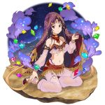 1girl anklet breasts choker collarbone detached_sleeves floating_hair full_body groin harem_outfit highres jewelry long_hair long_sleeves looking_at_viewer midriff navel official_art pants parted_lips pink_pants pink_sleeves purple_hair red_eyes see-through sitting small_breasts solo stomach sword_art_online thigh_strap transparent_background veil very_long_hair yuuki_(sao)