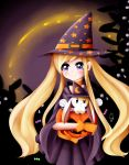 1girl 1other animal blonde_hair blush candy chandelly deviantart exceru-karina halloween human long_hair looking_at_viewer moon_print object_hug original rabbit smile star_print stell_the_witch violet_eyes witch witch_hat