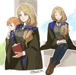 2900cm 2girls annette_fantine_dominic artist_name blonde_hair blue_eyes book bow closed_eyes closed_mouth fire_emblem fire_emblem:_three_houses green_eyes hair_bow harry_potter hogwarts_school_uniform holding holding_book long_hair long_sleeves low_ponytail mercedes_von_martritz multiple_girls necktie open_mouth orange_hair ravenclaw school_uniform sitting uniform wide_sleeves